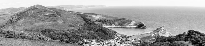 Panoramic view over Lulworth Village BW Stock Photos