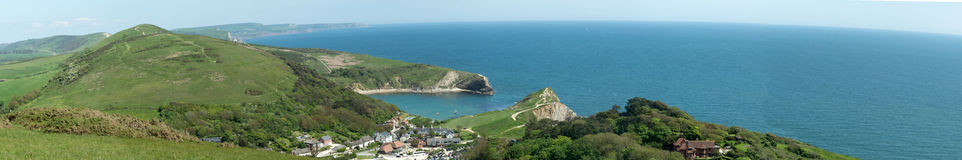 Panoramic view over Lulworth Village Royalty Free Stock Images