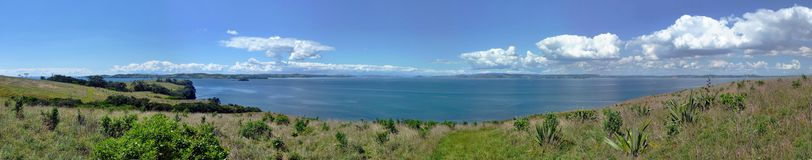 Panoramic view over meadows with bushes in front of the sea. Panoramic view over the landscape of Motuihe Island near Auckland with grassland, bushes, the sea Royalty Free Stock Image