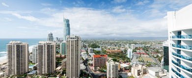 Panoramic view over the modern city Royalty Free Stock Photo