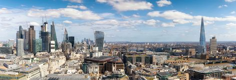Panoramic view over the new skyline of London during a sunny day Royalty Free Stock Photos