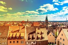 Panoramic view over Nuremberg, Germany. View on the medieval city of Nuremberg, Germany stock images
