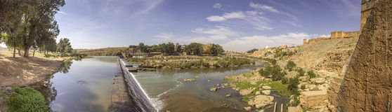 Panoramic view over Oum Errabia river and Kasba Tadla city in B Stock Images