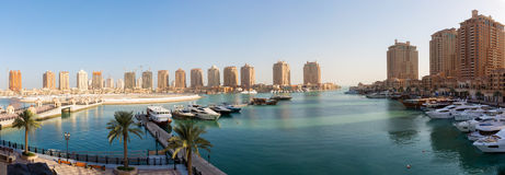 Panoramic view over the Pearl in Doha Stock Photography