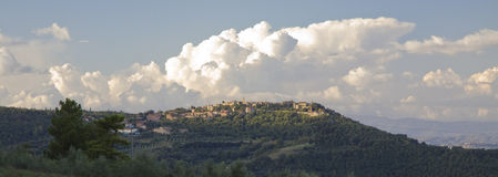 Panoramic view over Pienza, Tuscany Royalty Free Stock Image