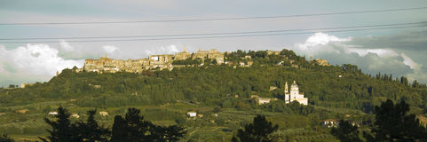 Panoramic view over Pienza, Tuscany Stock Photography