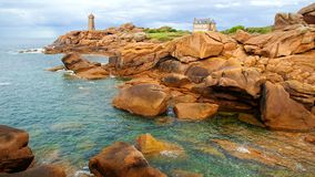 Pink Granite Coast. Brittany, France Royalty Free Stock Images