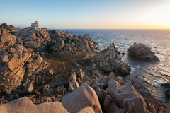 Panoramic view over Porto Pollo. A panoramic view over the coastline of Porto Pollo Gulf in Sardinia`s sea, Italy Royalty Free Stock Photos