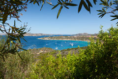 Panoramic view over Porto Pollo. A panoramic view over the coastline of Porto Pollo Gulf in Sardinia`s sea, Italy Stock Photo