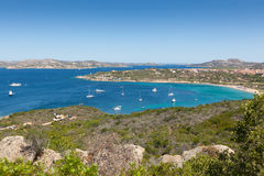 Panoramic view over Porto Pollo. A panoramic view over the coastline of Porto Pollo Gulf in Sardinia`s sea, Italy Royalty Free Stock Images
