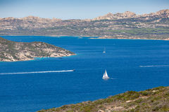 Panoramic view over Porto Pollo. A panoramic view over the coastline of Porto Pollo Gulf in Sardinia`s sea, Italy Stock Image