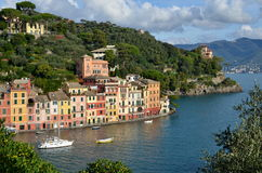 Panoramic view over Portofino, Liguria, Italy Royalty Free Stock Image