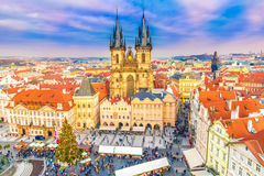 Panoramic view over Prague stock images