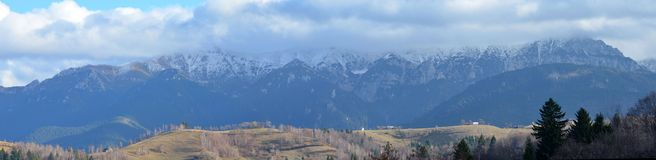 Panoramic view over a rainfall Royalty Free Stock Photo