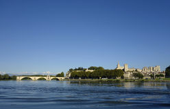 Panoramic view over the Rhone River with the Pont Saint-Benezet and medieval city of Avignon stock images