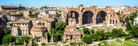 Panoramic view over the Roman Forum, Rome, Italy Stock Image
