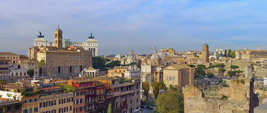 Attraction in Rome: Roman Forum. Panoramic view over Rome, Italy Royalty Free Stock Photo