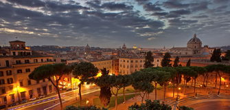 Panoramic view. Rome at sunset - Italy  Royalty Free Stock Image