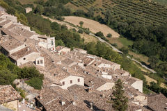 Panoramic view over the roofs of an ancient small village Stock Image