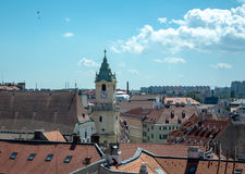 Panoramic view over the roofs of Bratislava. Slovakia to old town and a church on summer day Stock Photo