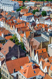 Panoramic view over the roofs of Bruges in Belgium Royalty Free Stock Photo
