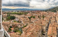 Panoramic view over the roofs of Gubbio, Italy Stock Images