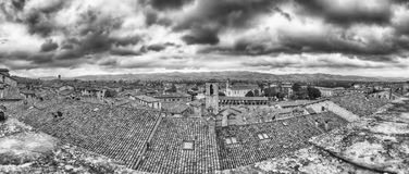 Panoramic view over the roofs of Gubbio, Italy stock photo