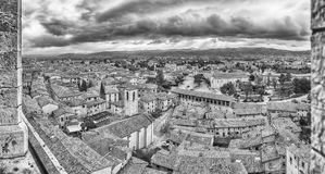Panoramic view over the roofs of Gubbio, Italy stock photography