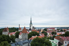 Panoramic view over the roofs of Old Town of Tallinn Royalty Free Stock Image