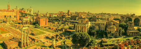 Panoramic view over the ruins of the Roman Forum, at evening tim Royalty Free Stock Image