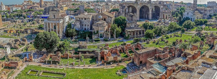 Panoramic view over the ruins of the Roman Forum Royalty Free Stock Photos