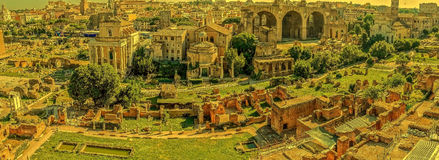 Panoramic view over the ruins of the Roman Forum Stock Images