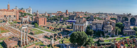 Panoramic view over the ruins of the Roman Forum Royalty Free Stock Photography