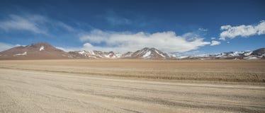 Panoramic view over the Salvador Dali Desert in Eduardo Avaroa Andean Fauna National Reserve, Bolivia. – South America Royalty Free Stock Photos