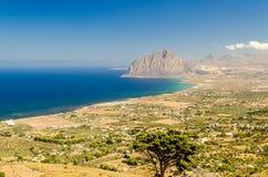 Panoramic View over Sicilian Coastline Stock Photos