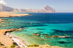 Panoramic View Over Sicilian Coastline and Cofano Mountain Stock Image