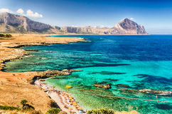Panoramic View Over Sicilian Coastline and Cofano Mountain Royalty Free Stock Photo