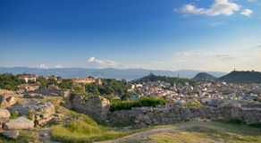 Panoramic View over skyline of Plovdiv taken from ruin hill of ancient fortress,Old Plovdiv cityscape. Stock Photography