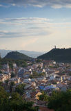 Panoramic View over skyline of Plovdiv taken from ruin hill of ancient fortress,Old Plovdiv cityscape. royalty free stock images