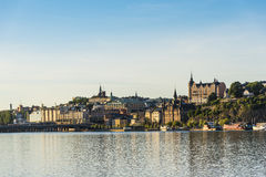 Panoramic view over Slussen and Mariaberget Stockholm Royalty Free Stock Photography