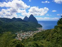Panoramic view over Soufriere, St. Lucia in the Caribbean Royalty Free Stock Photography