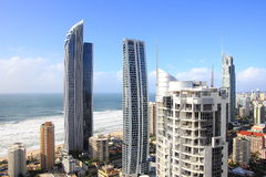 Modern tower buildings beachside aerial Stock Photography
