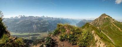 Panoramic view over the swiss alps from the peak of a mountain, brienzer rothorn. Hohenweg stock photos