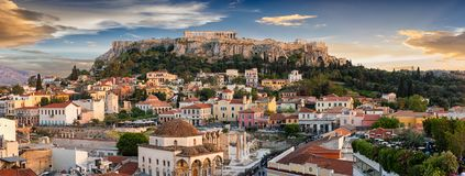 Panoramic View Over The Old Town Of Athens And The Parthenon Temple Of The Acropolis Royalty Free Stock Image