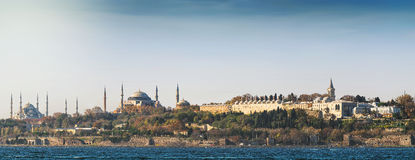 Panoramic view over Topkapi palace and two mosques Royalty Free Stock Photo