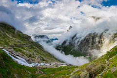 Panoramic view over Trollstigen valley. Large panorama view over the valley of the famous Trollstigen Norway Stock Image