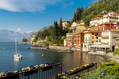 Panoramic view over Varenna city, at Como lake, in Italy, Europe royalty free stock image