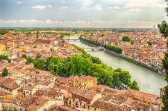 Panoramic View Over Verona and Adige River, Italy Stock Photography