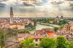 Panoramic View Over Verona and Adige River, Italy Royalty Free Stock Image