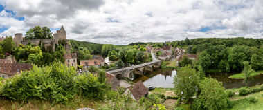 Panoramic view over the village of Angles-sur-l'Anglin Royalty Free Stock Photos